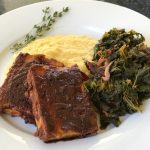 BBQ tofu with creamy polenta and sautéed greens.