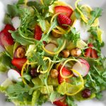 Radish and Mixed Greens Salad with Candied Hazelnuts and Miso Dressing